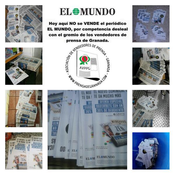 Reacción inmediata de los/as vendedores/as de Prensa de Granada ante el anuncio de el periódico El Mundo